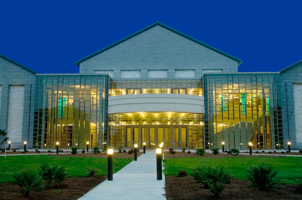 Front view of PAC at night