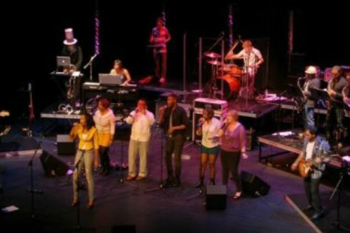 People singing on stage